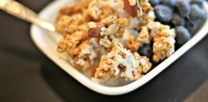 crispy high protein almond-lemon granola