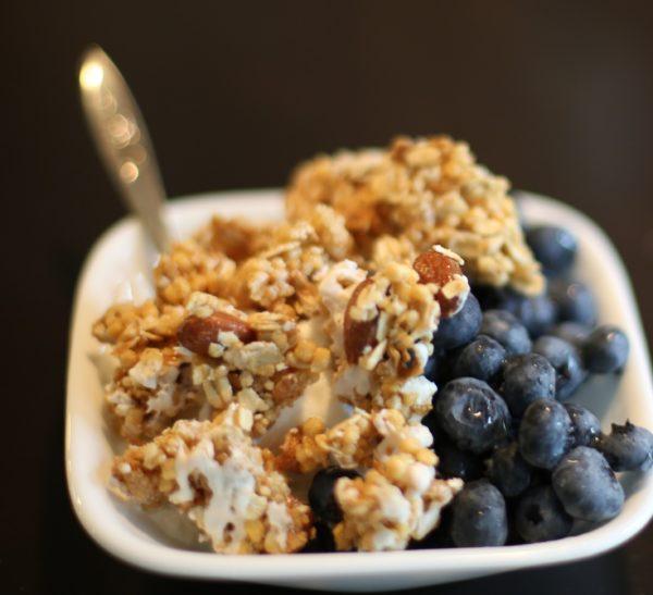 crispy high protein almond-lemon granola