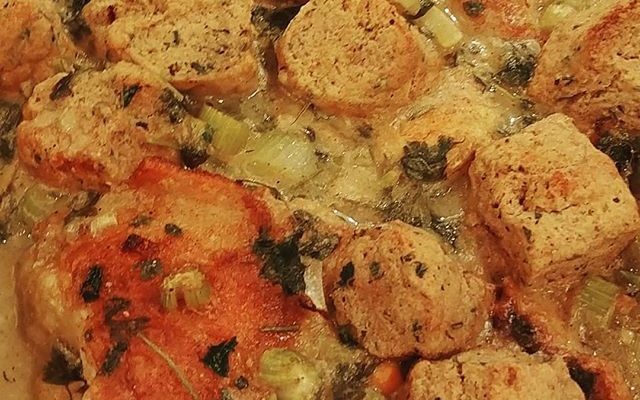 Chicken with Black Pepper Parsley Whole Wheat Biscuits (Healthy Chicken and Dumplings)